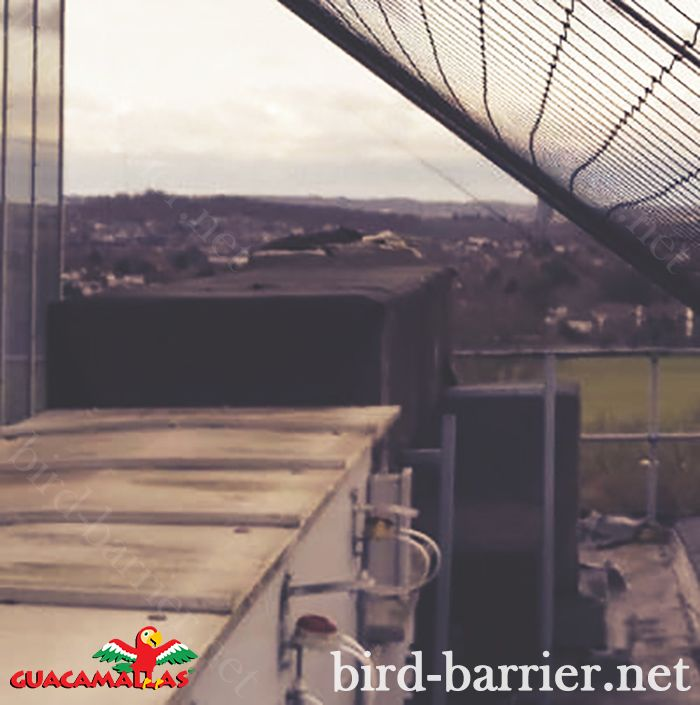 Bird nets as barriers over roofs prevent birds from gaining access and spoiling our structures and affecting the hygiene required around buildings.
