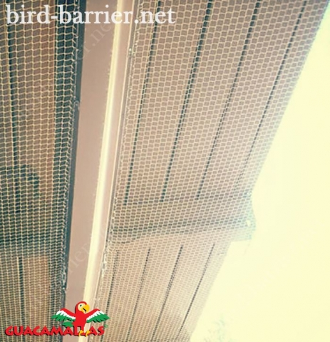 A netting barrier against urban birds easily installed and tensioned on a terrace.